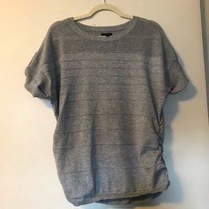 Apt 9 grey short sleeve ruched sweater size large